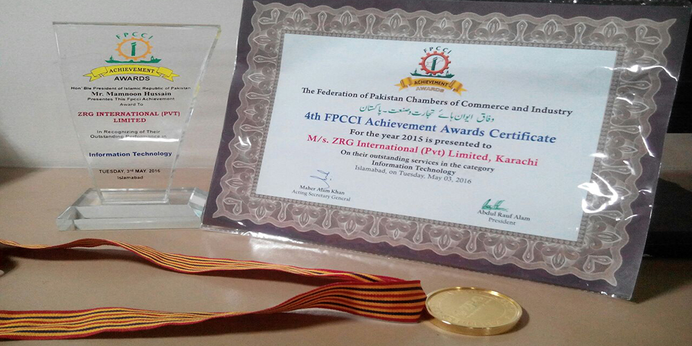 4 - ZRG receives FPCCI Gold Medal 2016