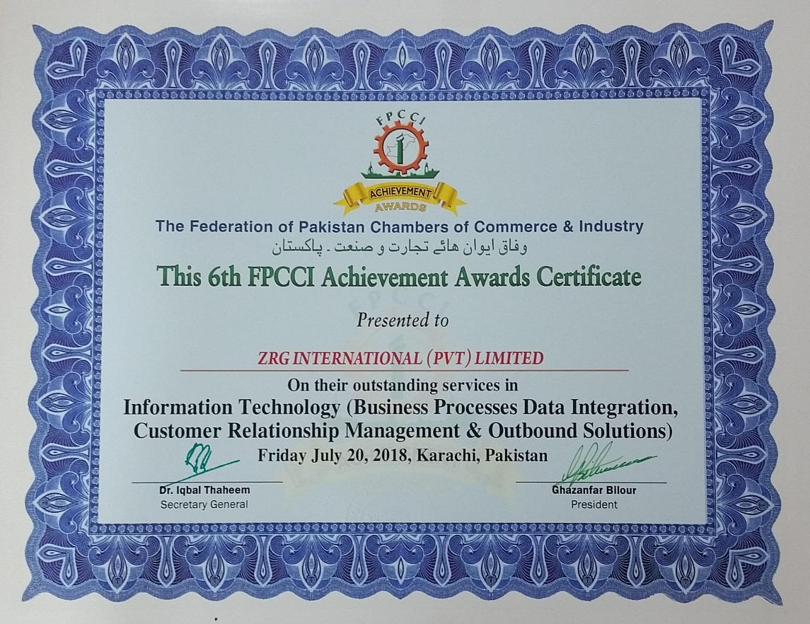 4 - ZRG Won 6th FPCCI Achievement award 2017